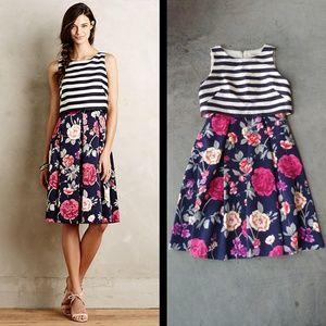 Moulinette Soeurs Floral Striped Split Print Dress